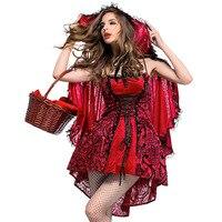 «Красная Шапочка» для Хэллоуина фантазийный платье Вечерние сказка Косплэй наряд, способный преодолевать Броды для взрослых Для женщин