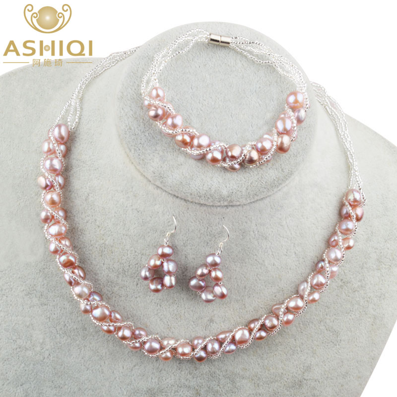 ASHIQI Natural Freshwater Pearl Jewelry Sets More Hand knitted Necklace Bracelet Earrings for Women NE BR ASHIQI Natural Freshwater Pearl Jewelry Sets & More Hand-knitted Necklace Bracelet Earrings for Women NE+BR+EA