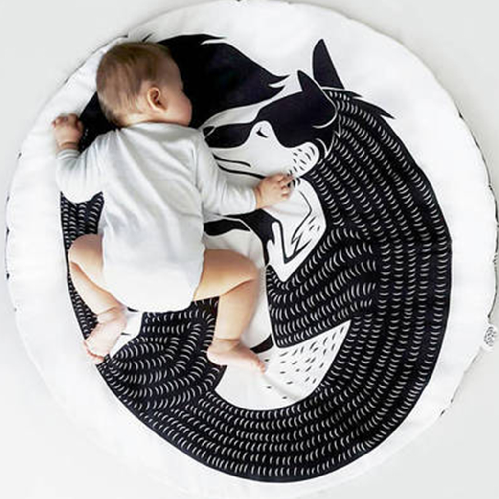 New Cartoon Kid Crawling Rug Infant Baby Blanket Playroom Nursery Rug Boy Girl Bedroom Carpet Child Play Mats 90CM*90CM 120cm play mat baby blanket inflant game play mats carpet child toy climb mat indoor developing rug crawling rug carpet blanket