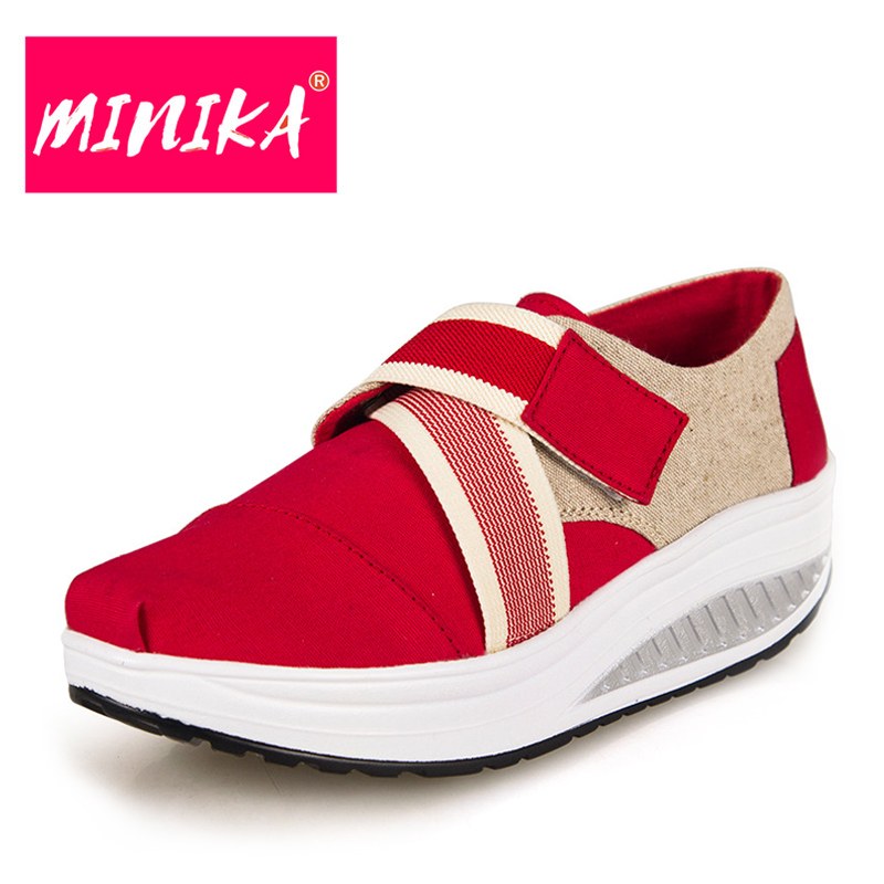 MINIKA Fashion Hook Loop Flat Shoes Women Height Increase Slip On Women Casual Shoes Super Comfort Insole Swing Platform Shoes minika breathable mesh lace shoes women thick bottom shallow mouth women casual shoes slip on flat shoes women high quality