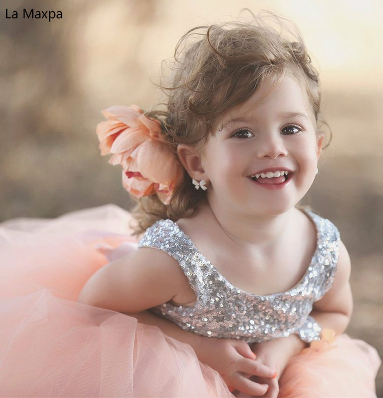 Children Sequined Sleeveless Pink Wedding Dress Bowknot Flower Girls Dance Paino Show Graduation Party Birthday Party Dresses women s stylish bowknot decorated sleeveless pink round neck dress