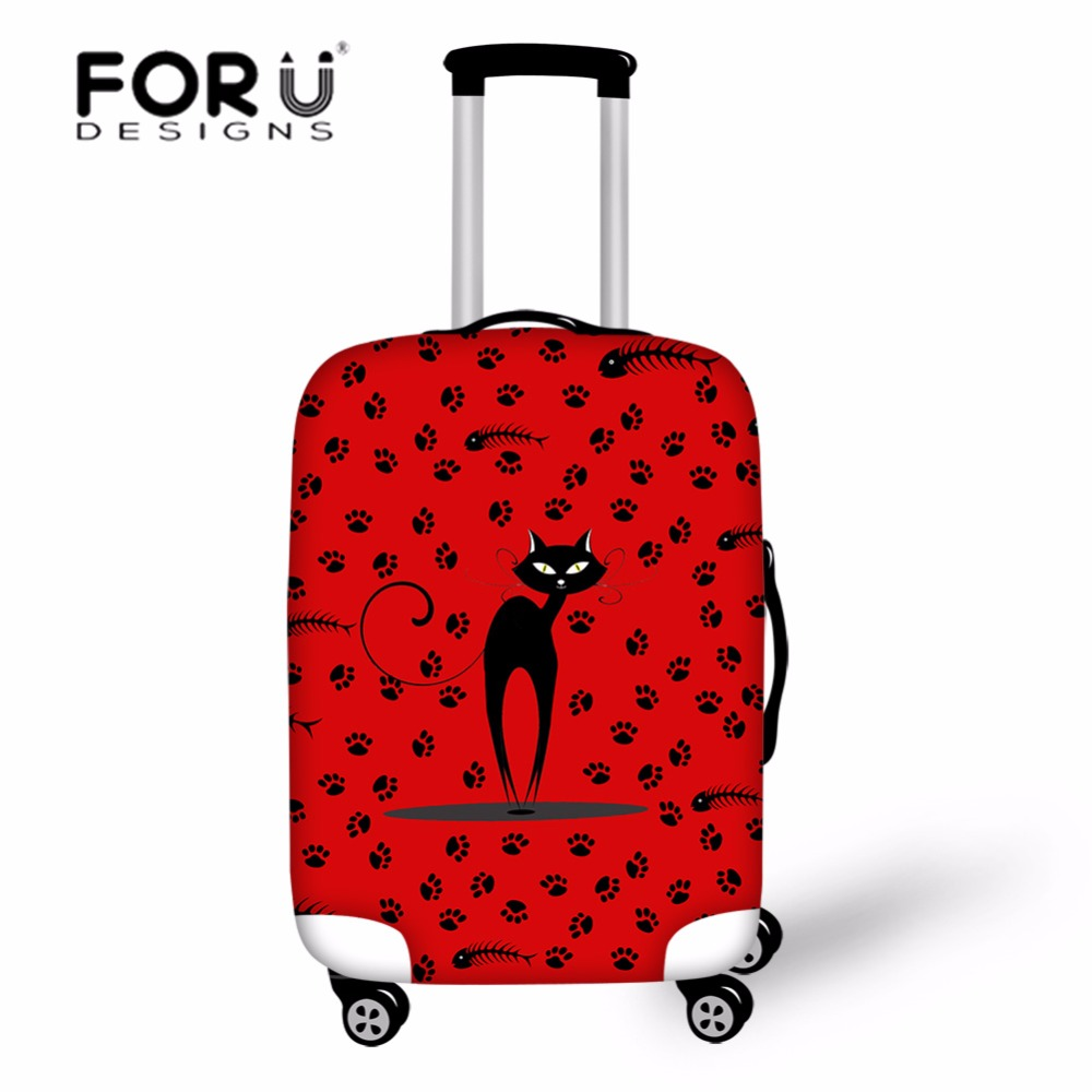 FORUDESIGNS Cartoon Travel Luggage Protective Cover Black Cat Case Cover Dustproof Protect Trolley Suitcase Cover for 18 30 Inch in Travel Accessories from Luggage Bags