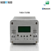 Free Shipping NIO T15B 5W/15W Silver Color FM Aluminum Amplifier Enclosure Transmitter 87 108 MHz Adjustable
