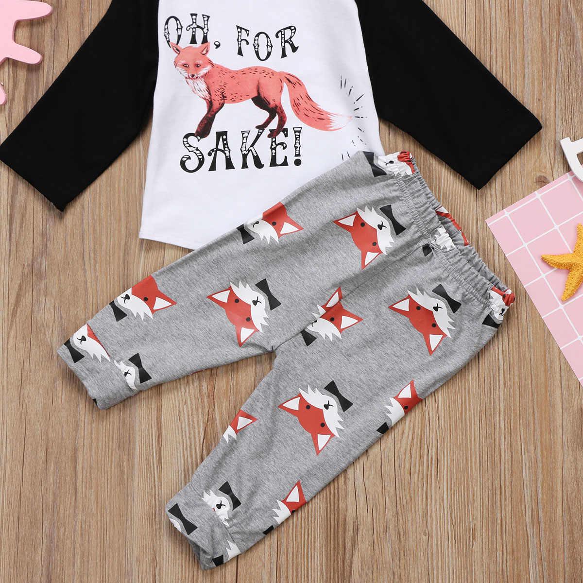 Pudcoco 0-24 м одежда для малышей мальчиков и девочек Фокс ползунки о футболка Топы + длинные штаны с принтом комплект одежды 2017
