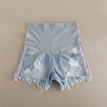 Поддежка живота шорты для беременных Горячие Брюки для беременных женщин одежда отверстие деним Брюшная эластичная талия беременность шорты Gravidas
