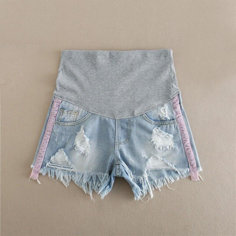 4eaddd1f1 Prop vientre pantalones cortos de maternidad caliente pantalones para  embarazadas ropa agujero Denim Abdominal cintura elástica pantalones cortos  de ...
