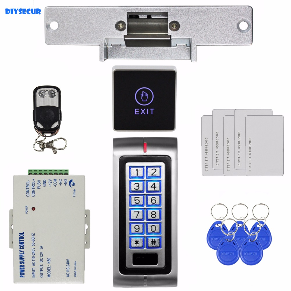 DIYSECUR Remote Control 125KHz RFID Metal Keypad Access Control System Security Kit + Strike Lock + Touch Switch K2 diysecur 125khz rfid metal case keypad door access control security system kit electric strike lock power supply 7612