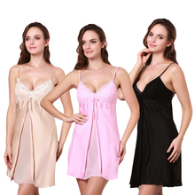Summer Mini Spaghetti Strap Nightgowns For Women Sleepwear Black Pink Champagne Sexy Satin Sleepshirts SW4