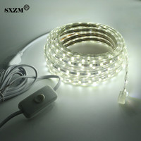 AC220V 5050 Led Strip Light With ON OFF Switch Waterproof Flexible Led Tape 60 Leds Meter