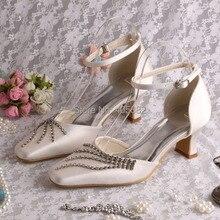 Wedopus MW764ที่กำหนดเองผู้หญิงส้นสแควร์ปิดนิ้วเท้ารองเท้าแตะฤดูร้อนสำหรับงานแต่งงาน
