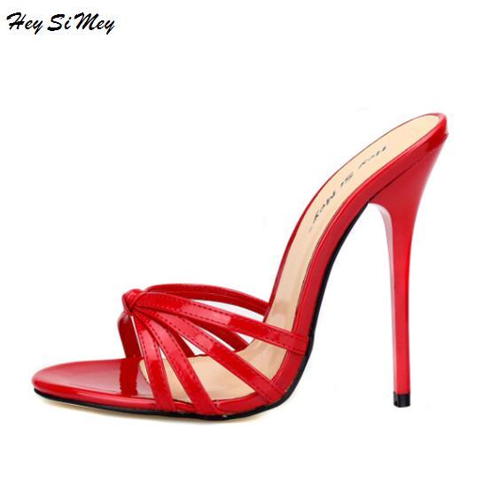 Pantoufles 2018 nu-pieds à talons hauts drag queen Taille 40-50 Chaussures qualité supérieure chaussures pour femmes très léger à talons hauts 13 cm Haute