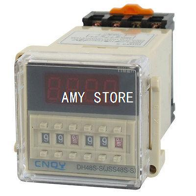DH48S-S 12V/24VDC 110V/220V/380VAC Digital Time Delay Relay Repeat Cycle Timer 0.1S-99H LED Display 8 Pin Panel w Socket