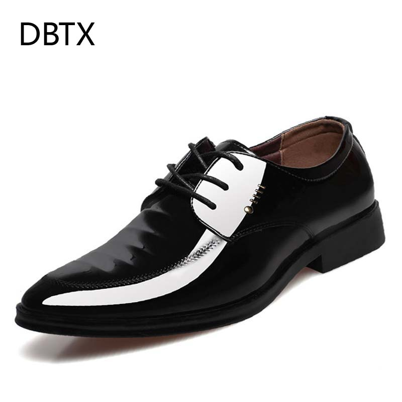DBTX Men Dress Patent Leather Shoes for Mens Wedding Formal Shoes Design Metal Italian Classic Derby Shoe Male Shiny Style Folds stylish men s formal shoes with patent leather and embossing design