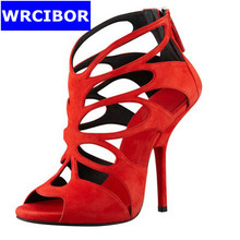 New Arrivals 2017 Fashion Shallow Thin High Heels Peep Toe High Heels Gladiator Pumps Shoes women Hollow out Summer sandals