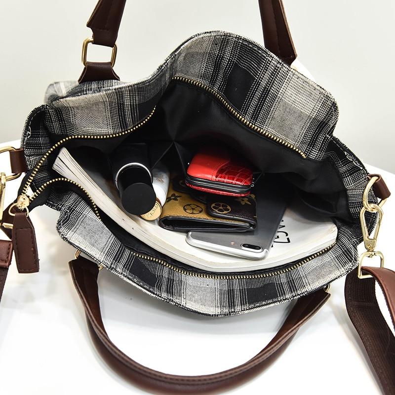 Fashion Woll Crossbody Bags For Women Plaid Elegant Tote Bag Designer Handbags High Quality Belt Ladies Hand Bags Sac A Main New
