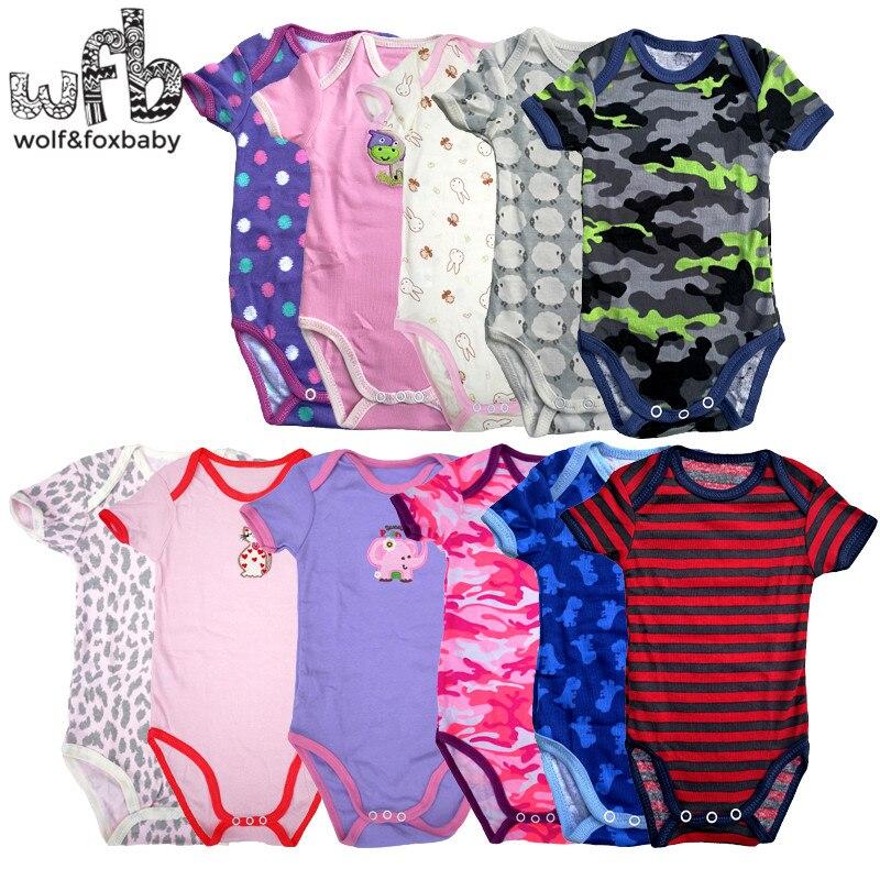 0-2years 5 peças/lote bebê de manga curta infantil dos desenhos animados bodysuits para meninos meninas macacões roupas