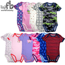 0-2years 5pieces/lot short-Sleeved Baby Infant cartoon bodysuits for boys girls jumpsuits Clothing