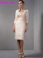 Champagne Short Knee Length Sheath Fitted Pleated Satin Mother Of The Bride Dresses Suits With Jackets