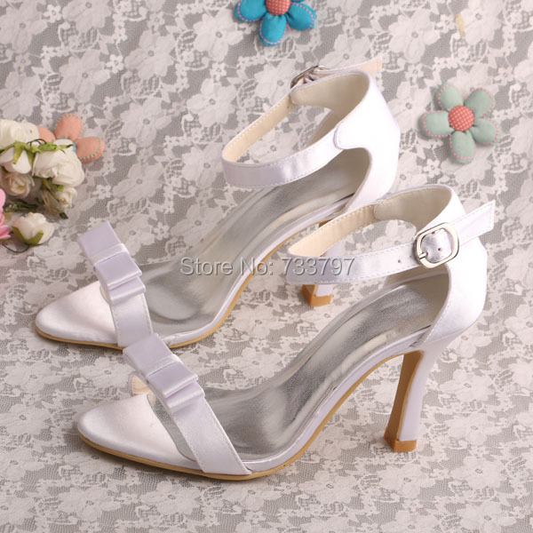 ФОТО Wedopus High Heeled Women Bow Sandals White Satin Shoes Bridal Dropshipping