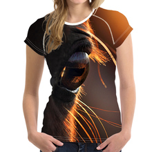 980b89121 NoisyDesigns Mysterious Horse Eyes Printing Women Summer T Shirts  Streatwear Female Slim T-shirts Casual