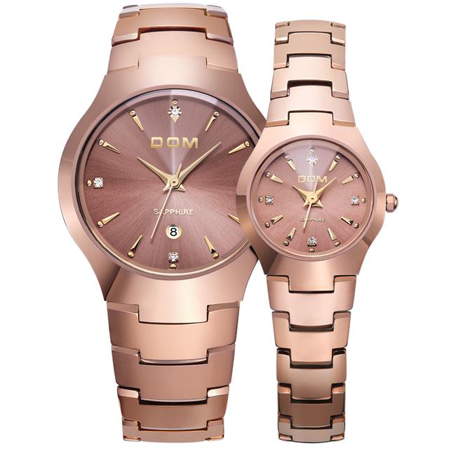DOM Lovers Watch Tungsten Steel Watches Couple Watch Luxury Fashion Business Quartz Waterproof rhinestone Wrist watches