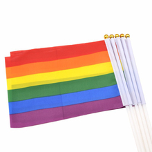 Rainbow Flag Colorful Peace Flags Lesbian Gay Parade Banner LGBT Pride Home Decoration 14x21cm