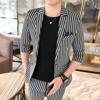Stripe Mens Suits With Pants Korean Suit For Mens Suits Slim Fit Social Club 2 Pieces Mens Smoking Para Hombre Combinaison Homme