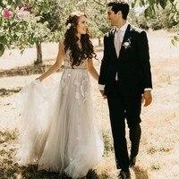 TANYA Beach Bohemian Wedding Dress 2019 Nude Champagne Deep V neck Whimsical Romantic Beach Bohemian Dream Wedding Dress JQ476