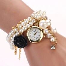 Vogue Ladies Rose Synthetic Pearl Bracelet Quartz Wristwatch Watches Reward black