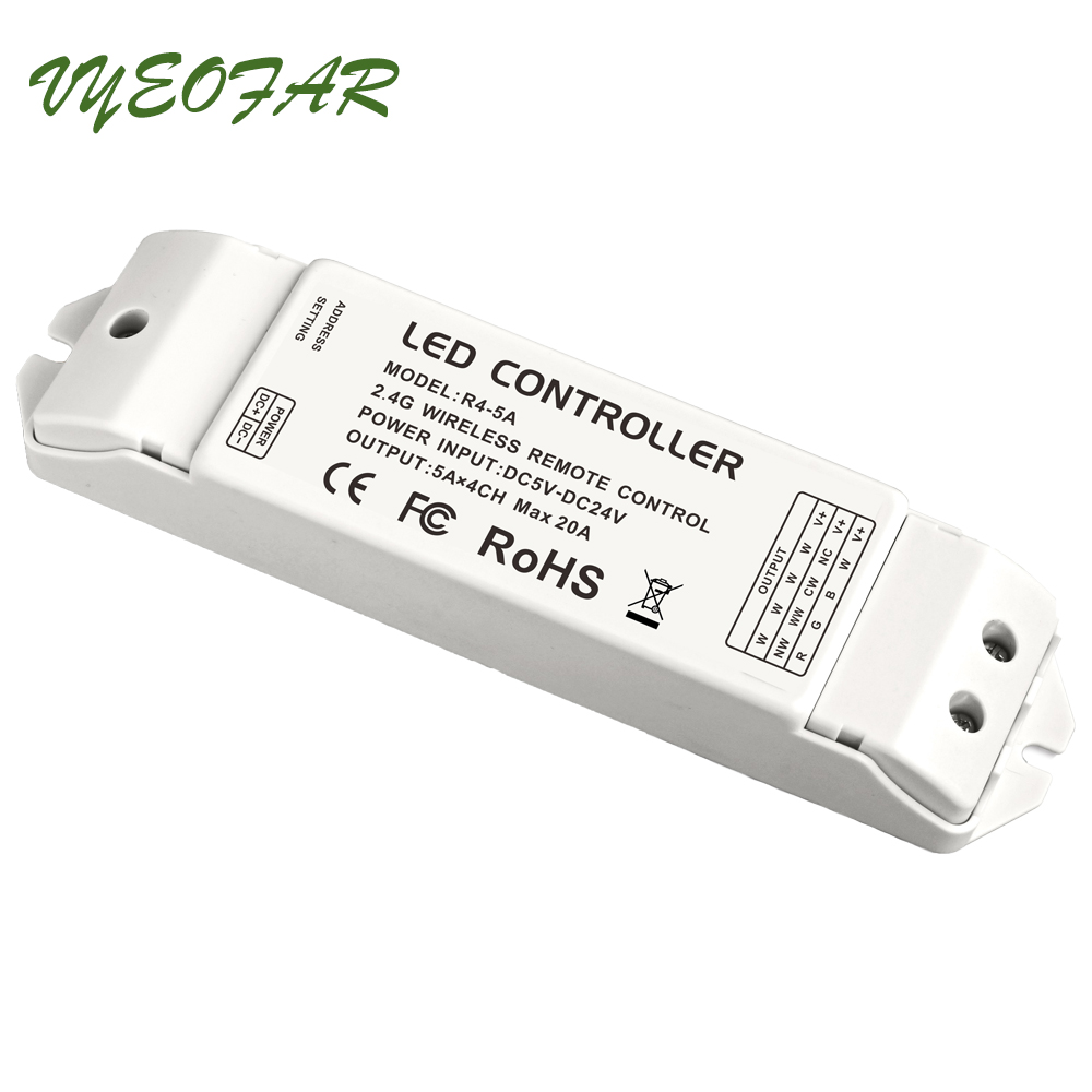 LTECH R4-5A Constant Voltage 2.4G Wireless Receiving controller match Wifi-104 Lighting System,DC5-24V 4 Channel 5A MAX 20A цена