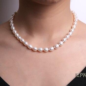 JYX Feine Klassische Halskette mit Perle natürliche süßwasser 7,5-8mm AAA Weiß Süßwasser-zucht Oval Perle Halsketten elegante geschenk