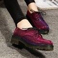Grã-bretanha moda calçados femininos lace-up calçados casuais das mulheres do vintage estilo preppy oxfords150105-1