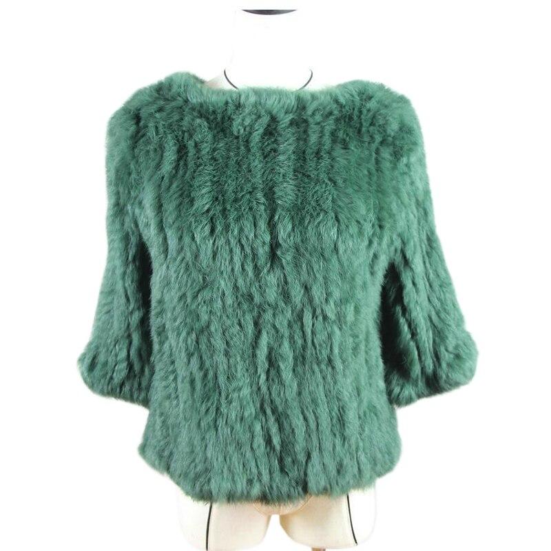 Harppihop*New Hot Sale Women Real Rabbit Fur Knitted Coat Jacket Vests Wraps Smock Overall 11 Colors Black Beige