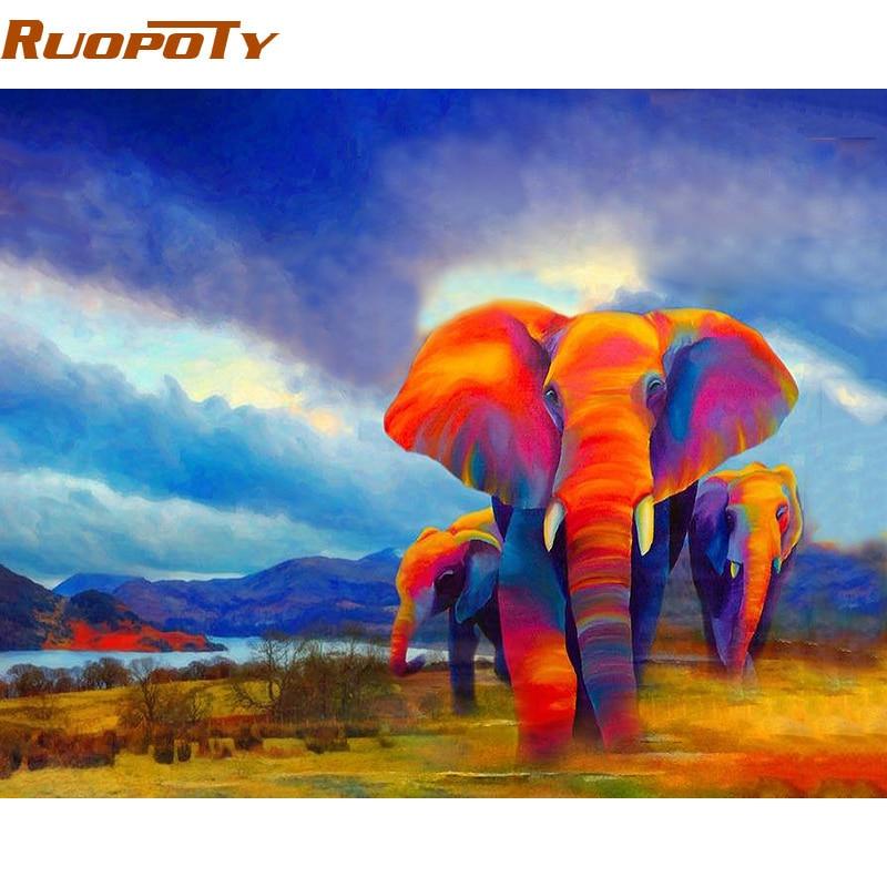 RUOPOTY DIY malen nach zahlen bunte Elefanten moderne wandkunst leinwand diy rahmen geschenk für home wand kunstwerk 40*50 cm