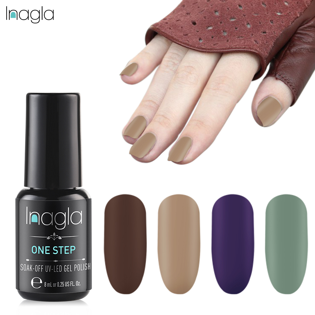 369021dce4 Inagla 8 ml Matte One Step Gel Nail Polish 3-in-1 UV LED One Step Gel  Varnishes