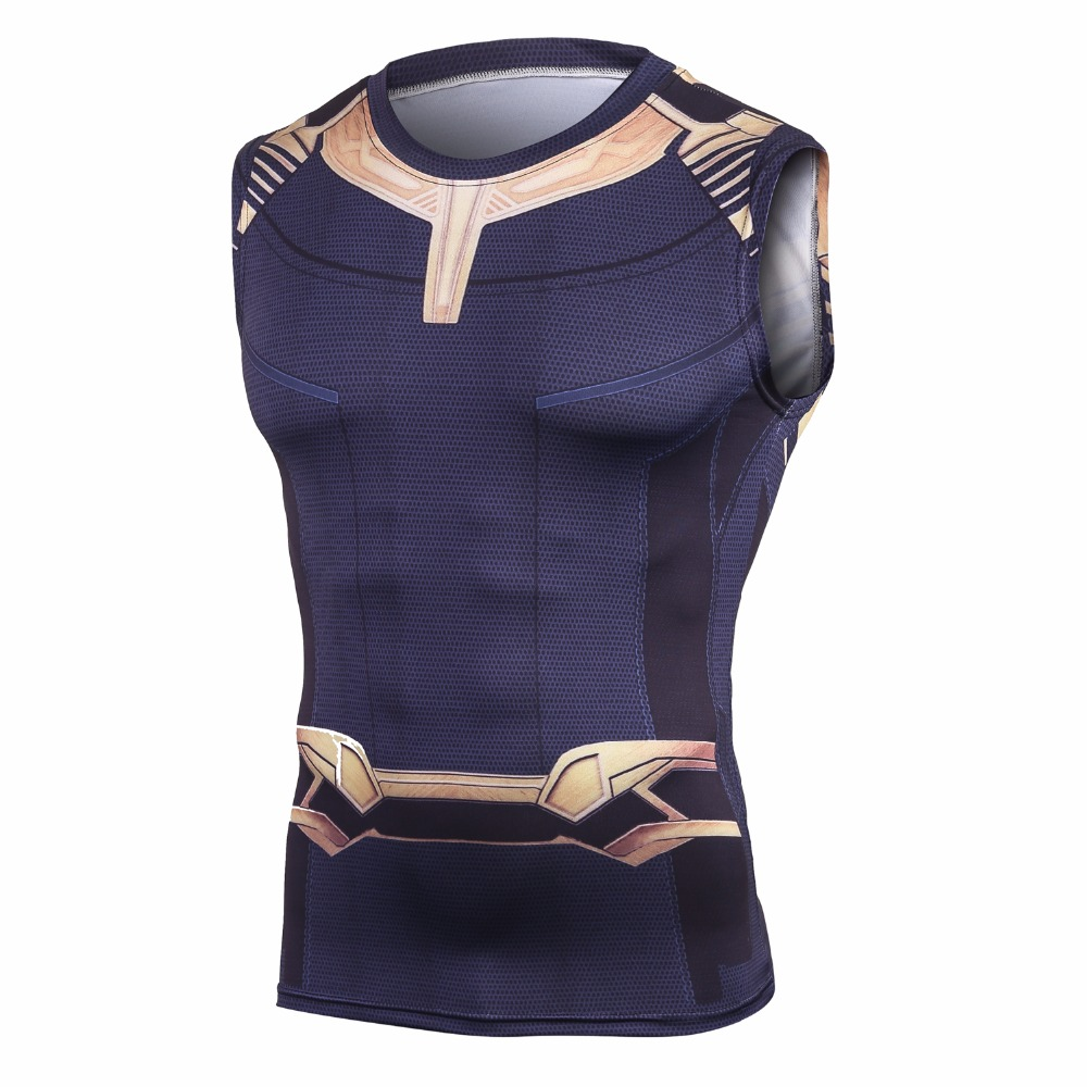 2018 Film Avengers 3 Infinity Guerra Thanos Supereroe Cosplay Estate T-Shirt Uomo 3D Stampa di compressione fitness Top