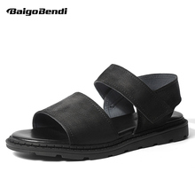 Rome Style Man Leather Sandals Gladiator Ankle Strap Hook Loop Casual Business Men Beach Shoes Summer Outdoor Shoes