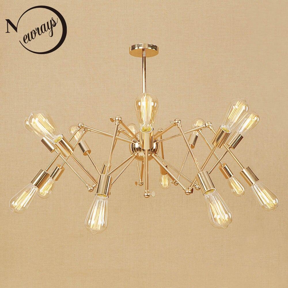 Vintage fer araignée pendentif lumière Loft industriel lampe moderne LED E27 avec 6/8/10/16 lumières pour salon hôtel chambre café
