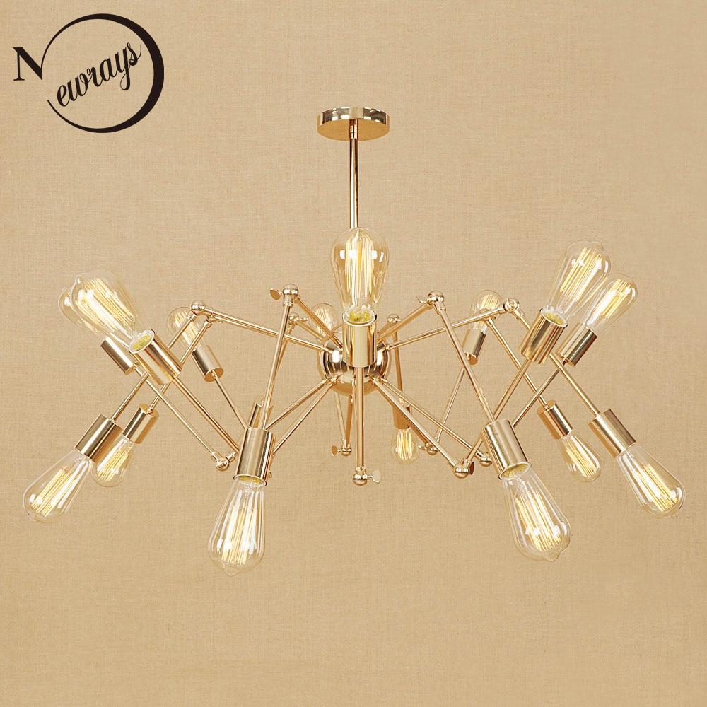 Vintage iron spider pendant light Loft industrial lamp modern LED E27 with 6/8/10/16 lights for living room hotel bedroom cafe