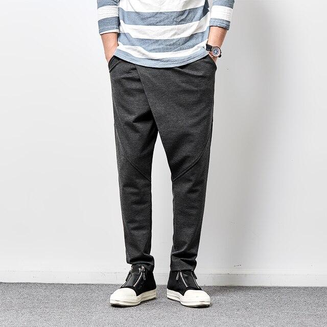 Мужская повседневная брюки весна осень шаровары уличная мода hip hop панк стрейч брюки черный серый sweatpant WK05