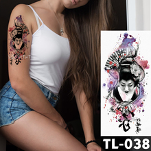 Waterproof Body Art Painting Arm Sleeve Tattoo Japanese Geisha Lotus flower Women Design Temporary Fake