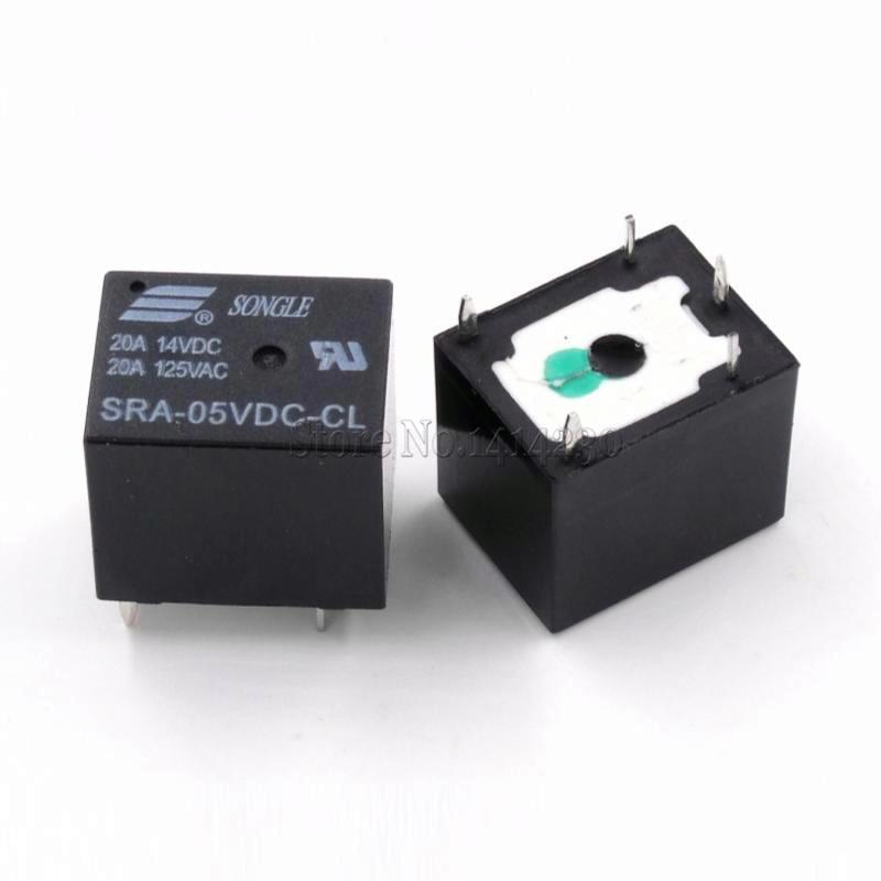 5 шт. 5 В, 12 В, 24 В постоянного тока, 20A DC Мощность реле SRA-05VDC-CL SRA-12VDC-CL SRA-24VDC-CL 5Pin PCB Тип ЧЕРНЫЙ автомобильное реле