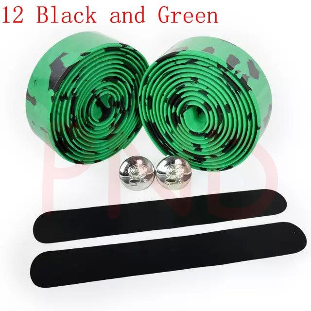 Лента на руль для шоссейного велосипеда камуфляжная велосипедная ручка на ремне пробковая обмотка с заглушками 17 цветов FZE001 - Цвет: 12 Black and Green