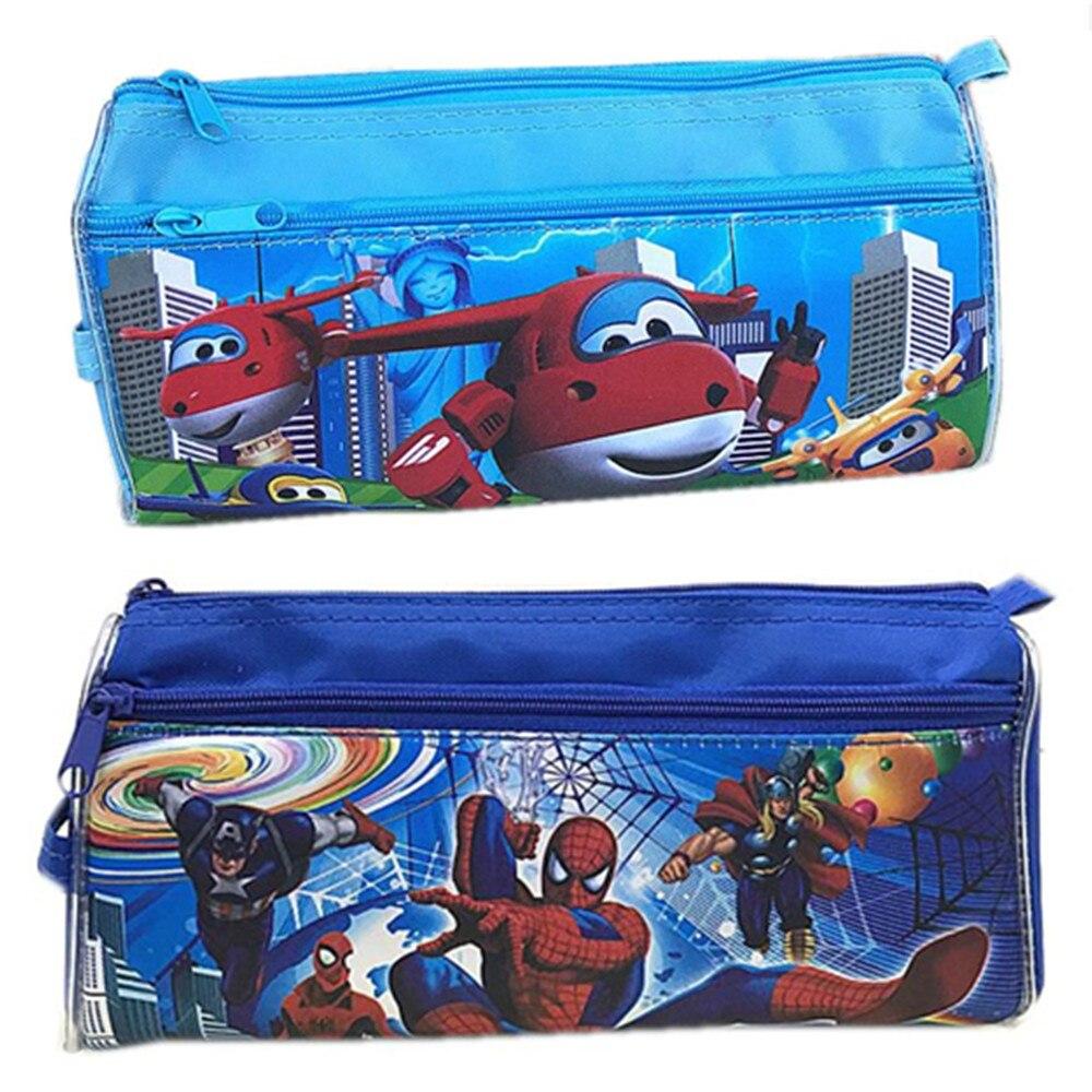 1 Pcs Cartoon Pencil Bag Super Wings Spiderman Nylon Study Stationery Bag Simple Zipper Design Tools Box Kid Gift Toy