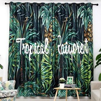 Nach Maß 2x Fenster Gardinen Panel Wohnzimmer Vorhang Fenster Dressing Abdeckung 200 cm x 270 cm Palm Blätter Regenwald schwarz Grün