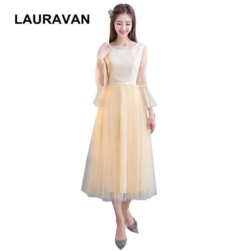 e78b3901e Champán estilo Hada elegante dulce 16 bonita manga noche chica té longitud  tul vestidos de fiesta ...