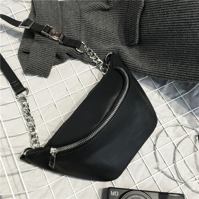 Wholikes Ladies New Fashion PU Pockets Girls Street Style High Quality Leather Diagonal Belt Bag Large Capacity Pockets