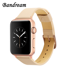 Imported Genuine Leather Watchband for iWatch Apple Watch Series 1 2 3 4 5 38mm 40mm 42mm 44mm Band Steel Clasp Strap Bracelet