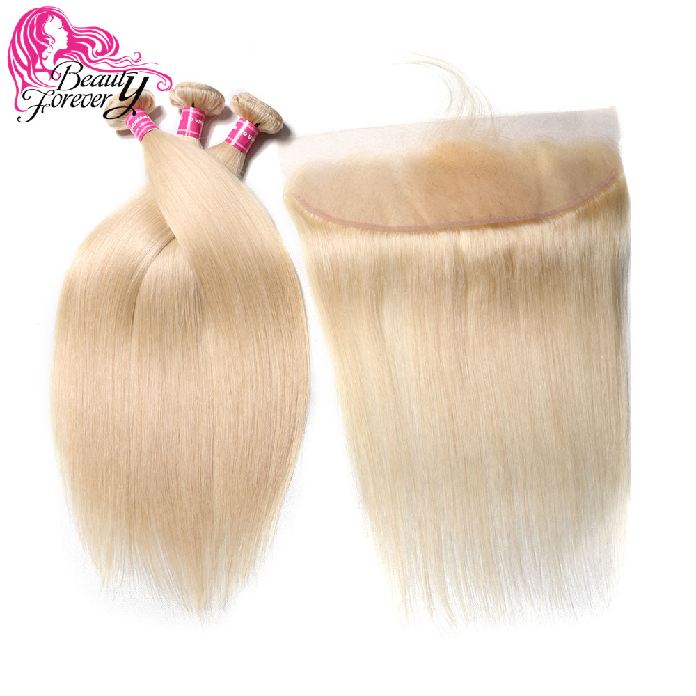 Beauty Forever 613 Brazilian Straight Human Hair Bundles With Lace Frontal Ear to Ear 13 4