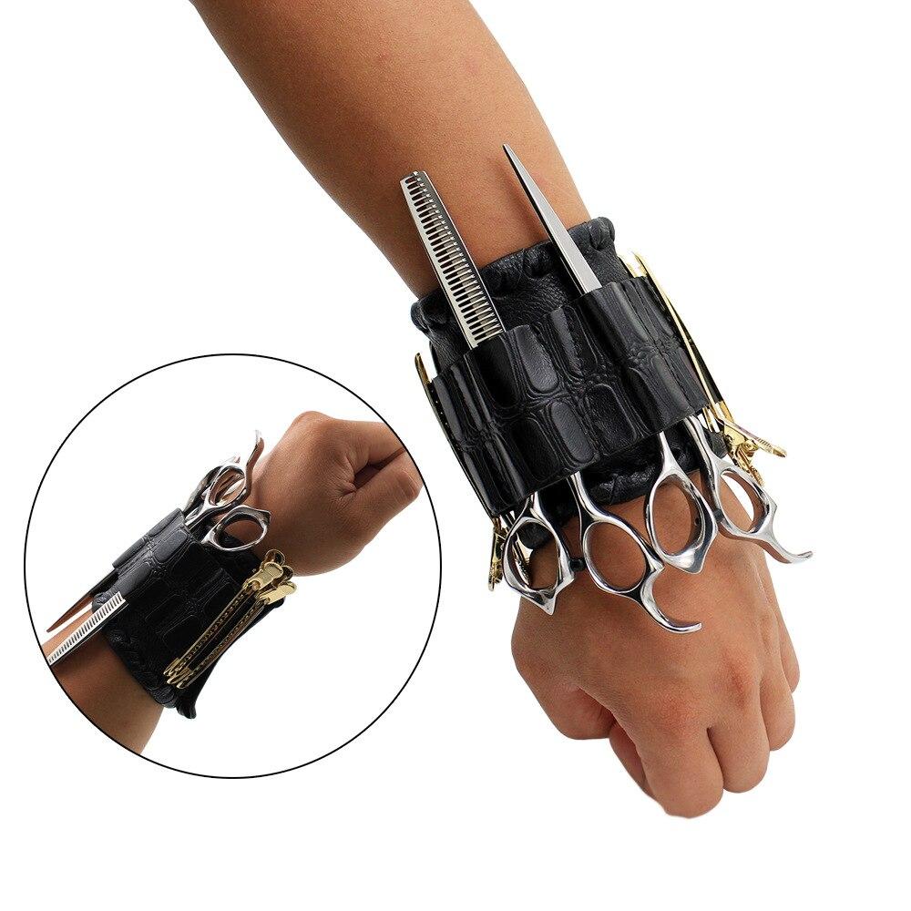 Wristband Salon Barber Scissors Bag Hairdressing Holster Pouch Holder Case Storage Wrist Bracelet Storage Bags Black